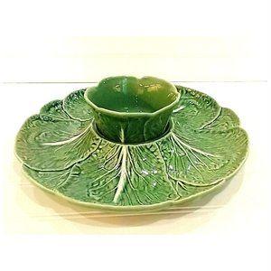 BORDALLO PINHEIRO Green Cabbage Chip & Dip Set